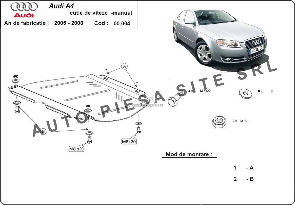 Scut metalic cutie viteze manuala Audi A4 B7 (4 cilindrii) fabricat in perioada 2005 - 2008