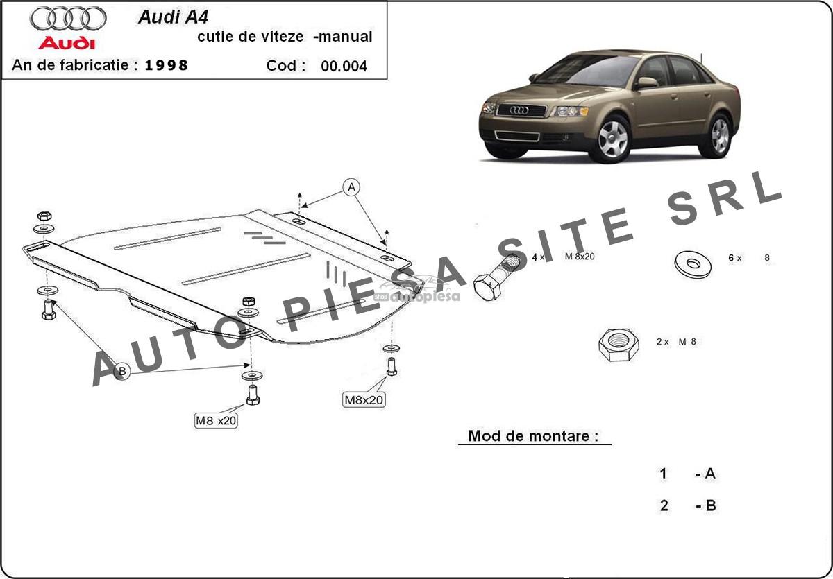 Scut metalic cutie viteze manuala Audi A4 B6 (4 cilindrii) fabricat in perioada 2001 - 2005