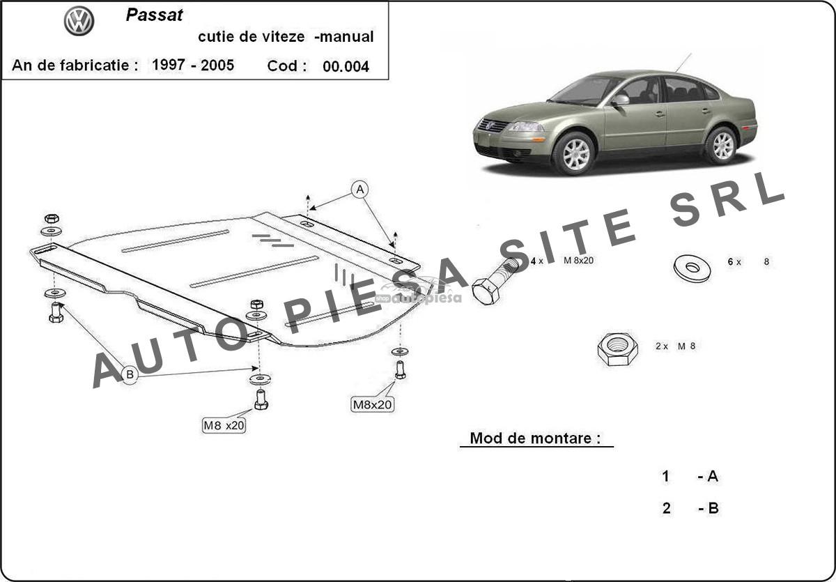 Scut metalic cutie viteze manuala VW Passat (3B3, 3B6) fabricat in perioada 2001 - 2005