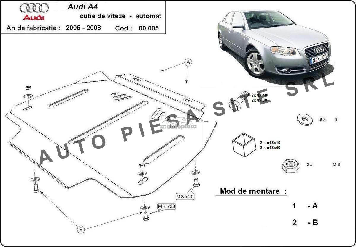 Scut metalic cutie viteze automata Audi A4 B7 (4 cilindrii) fabricat in perioada 2005 - 2008