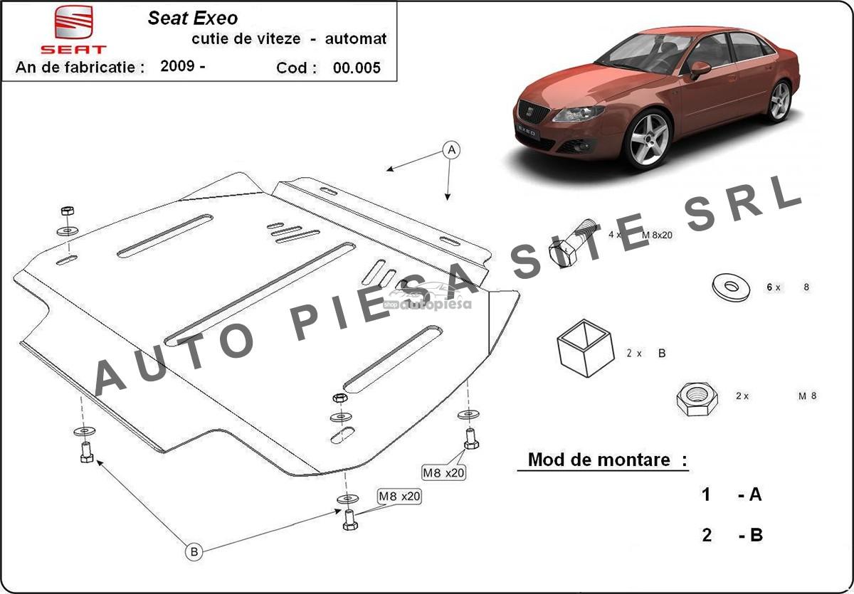 Scut metalic cutie viteze automata Seat Exeo fabricat incepand cu 2009