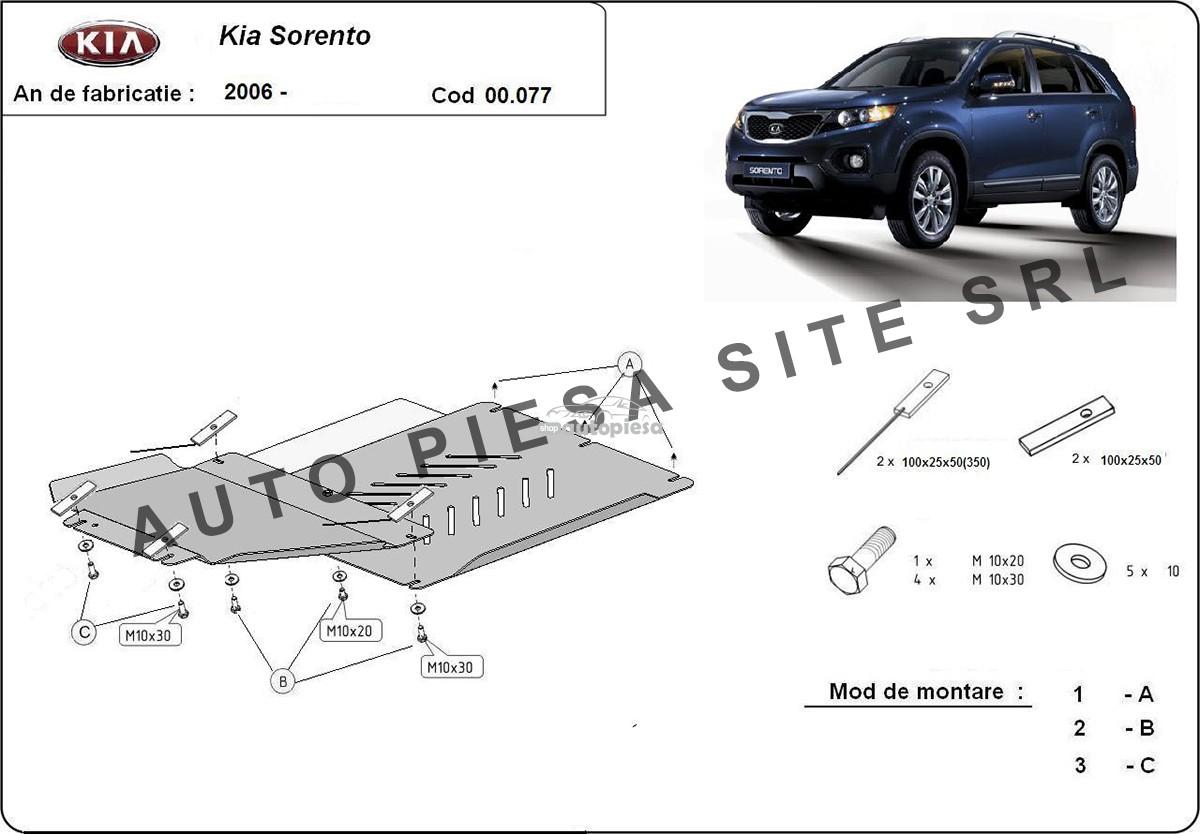 Scut metalic cutie viteze + diferential Kia Sorento fabricata incepand cu 2006