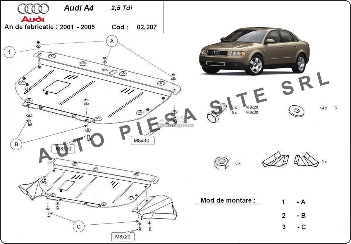 Scut metalic motor Audi A4 B6 (6 cilindrii) fabricat in perioada 2001 - 2005