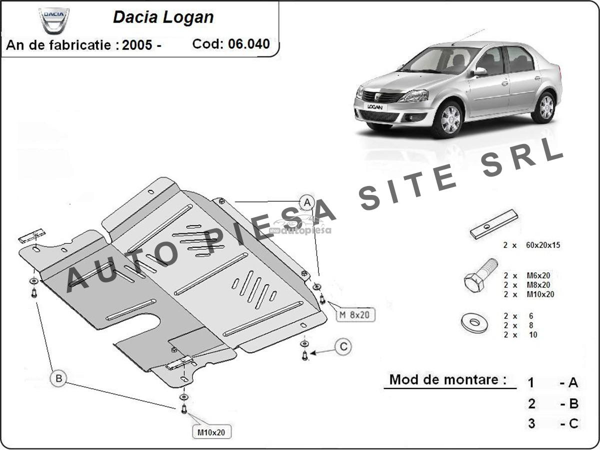 Scut metalic motor Dacia Logan 1 I / Logan MCV fabricata incepand cu 2005