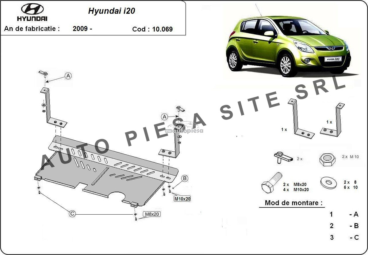 Scut metalic motor Hyundai i20 fabricat incepand cu 2009