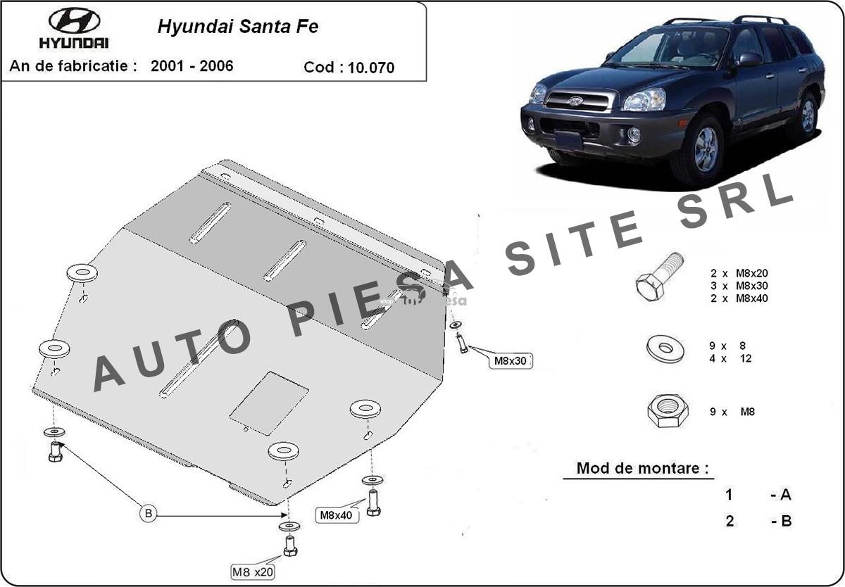 Scut metalic motor Hyundai Santa Fe 1 I fabricat in perioada 2001 - 2006