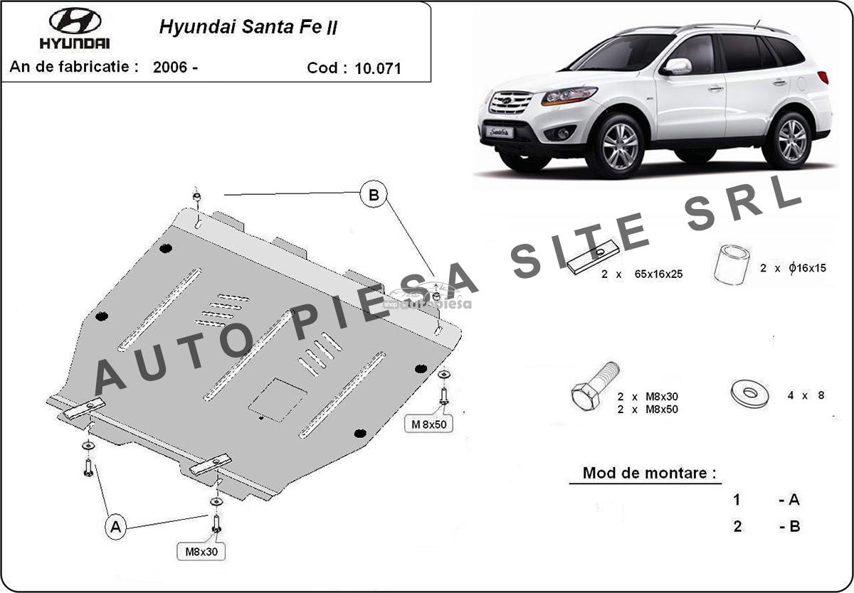 Scut metalic motor Hyundai Santa Fe 2 II fabricat in perioada 2006 - 2011