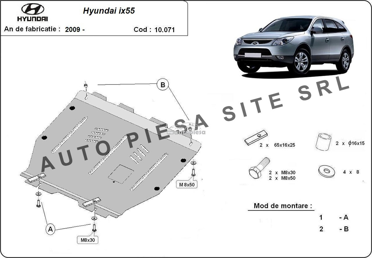 Scut metalic motor Hyundai ix55 fabricat incepand cu 2009
