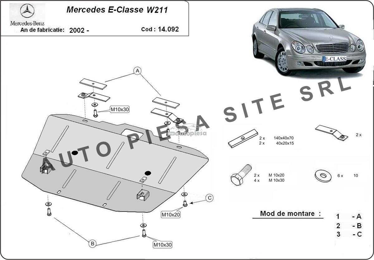 Scut metalic motor Mercedes E-Class W211 fabricat incepand cu 2002