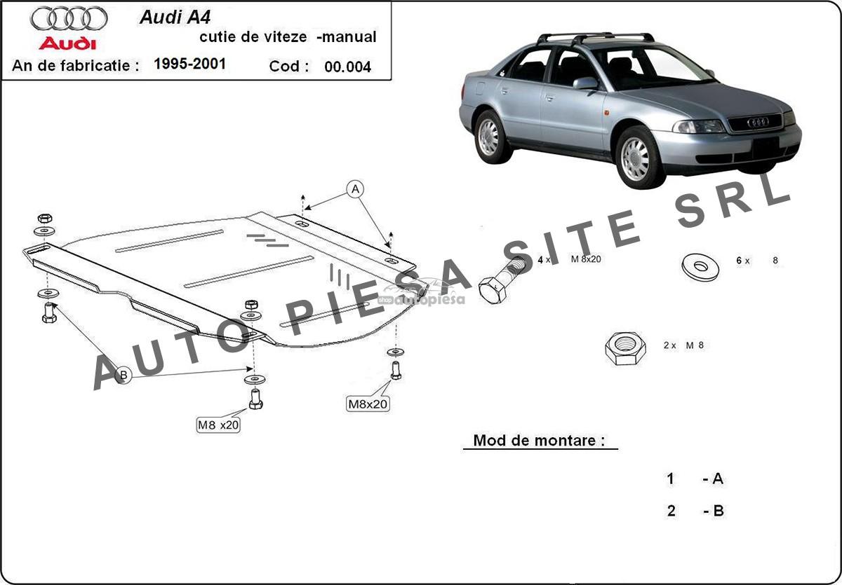Scut metalic cutie viteze manuala Audi A4 B5 (6 cilindrii) fabricat in perioada 1995 - 2001