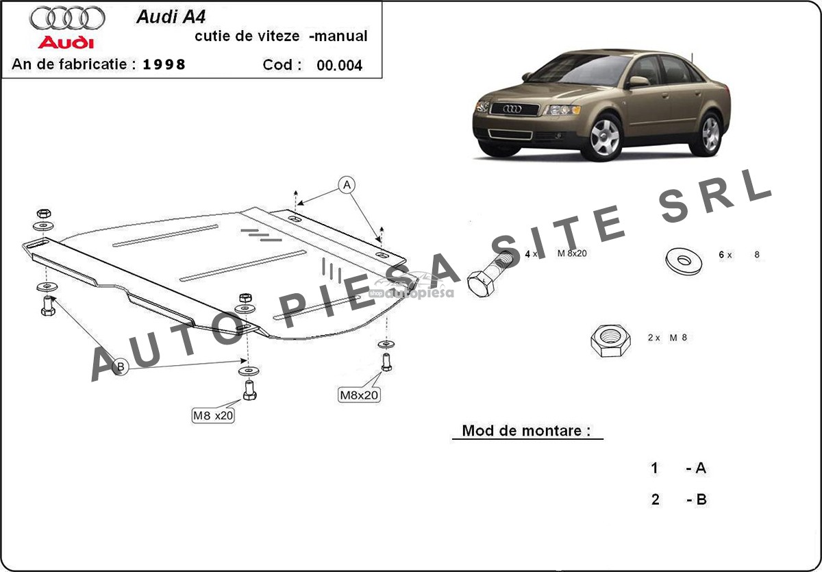 Scut metalic cutie viteze manuala Audi A4 B6 (6 cilindrii) fabricat in perioada 2001 - 2005