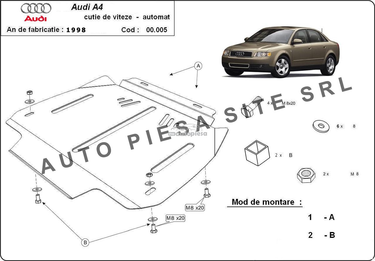 Scut metalic cutie viteze automata Audi A4 B6 (6 cilindrii) fabricat in perioada 2001 - 2005