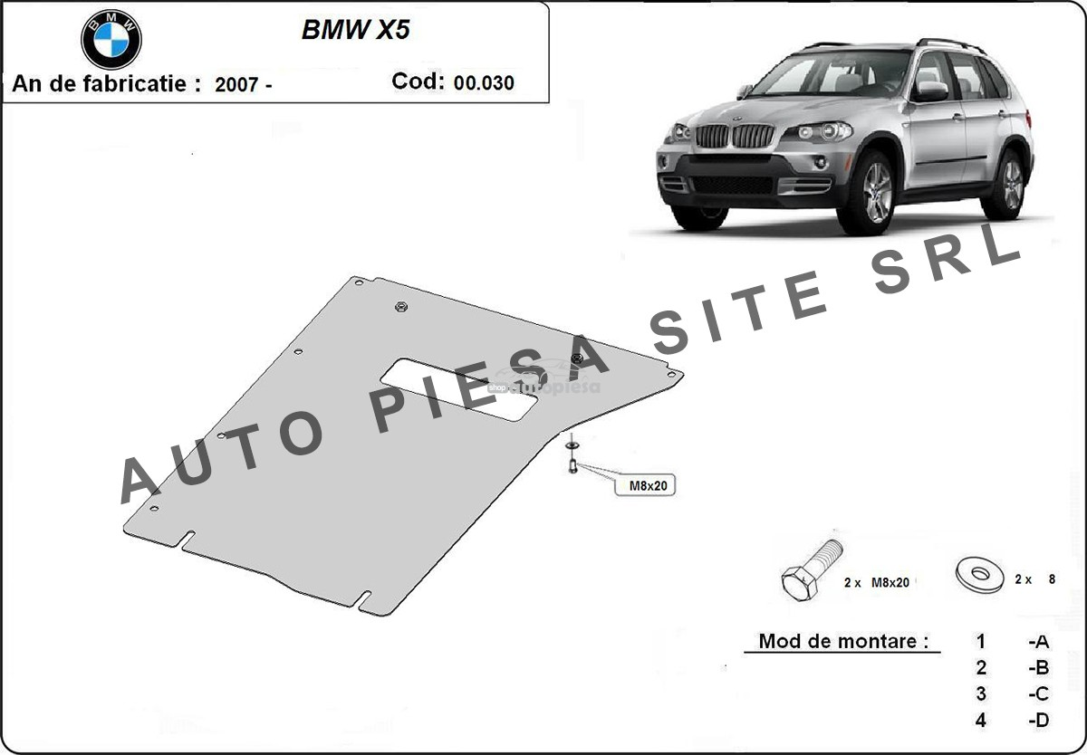 Scut metalic cutie viteze BMW X5 F15 fabricat incepand cu 2013