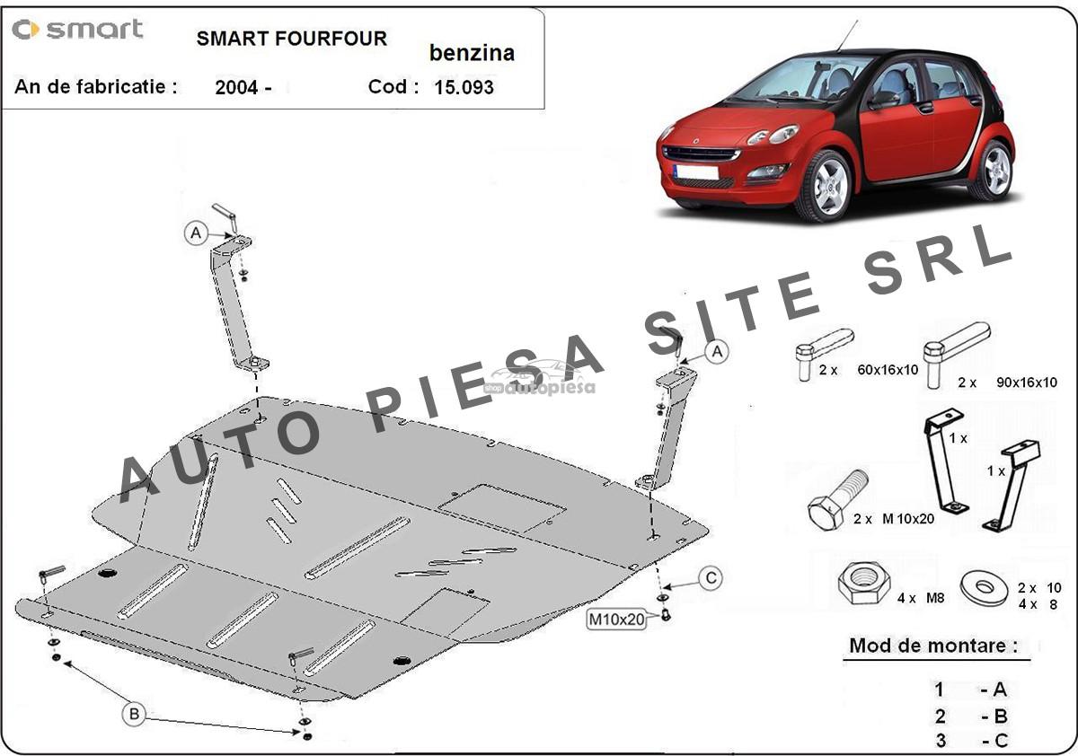 Scut metalic motor Smart ForFour benzina fabricat incepand cu 2004