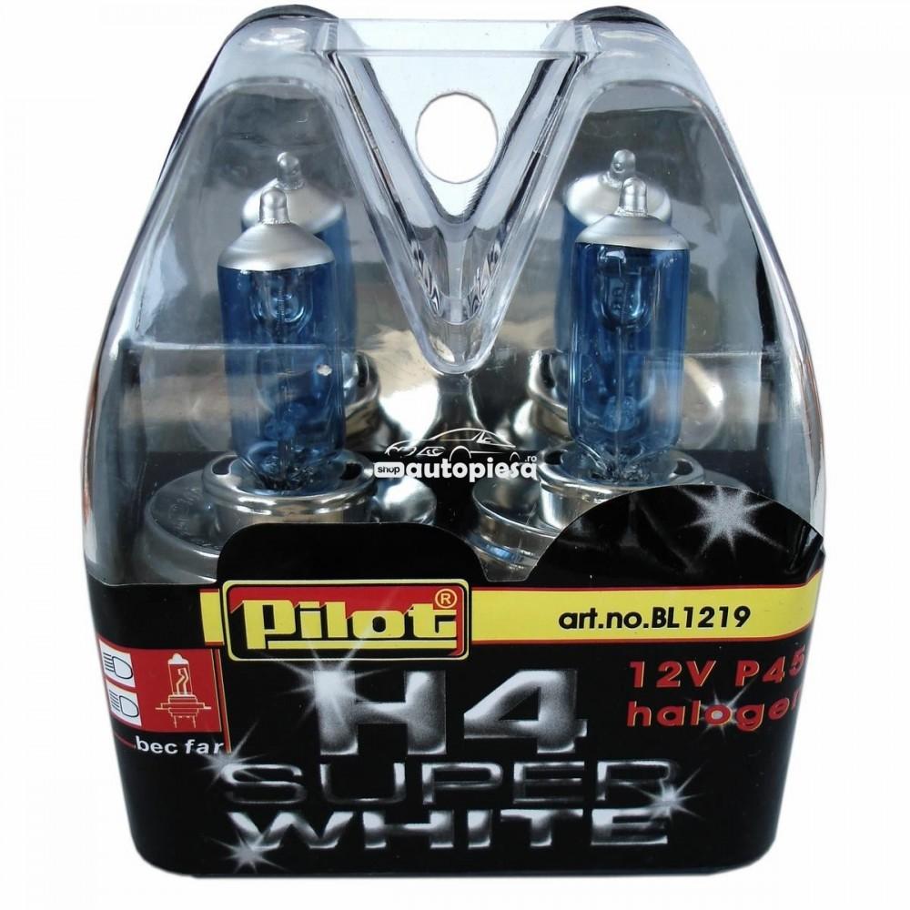 Set 2 becuri H4 Super White 12V 60/55W Pilot
