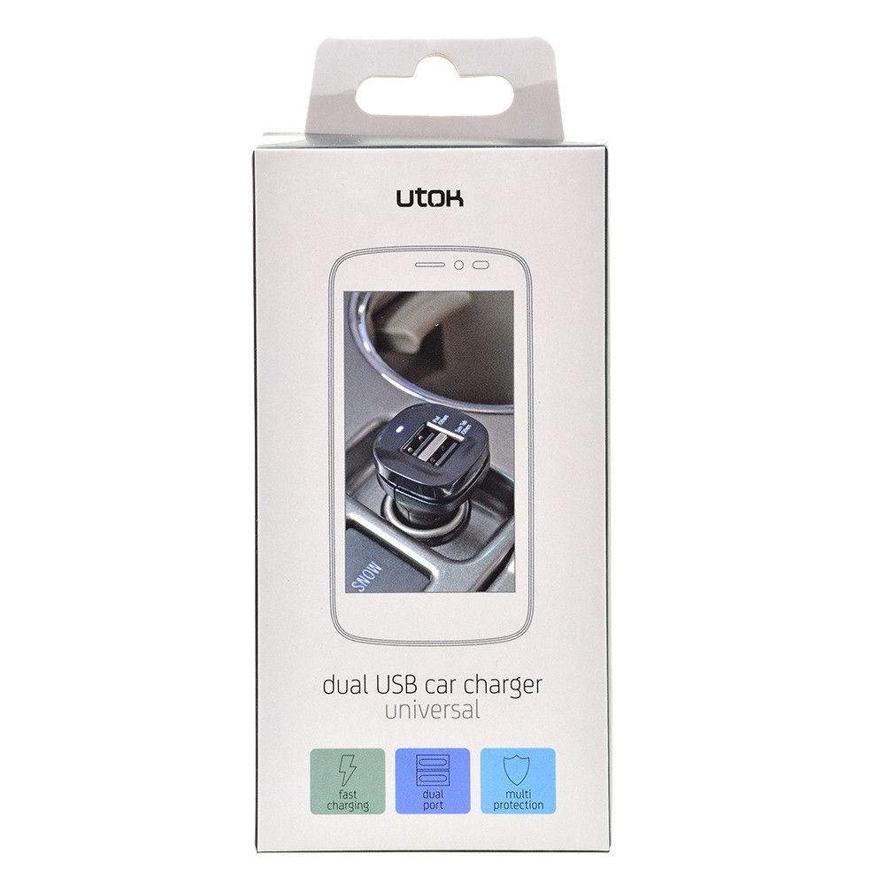 Incarcator auto cu 2 iesiri USB fast charge 2A UTOK