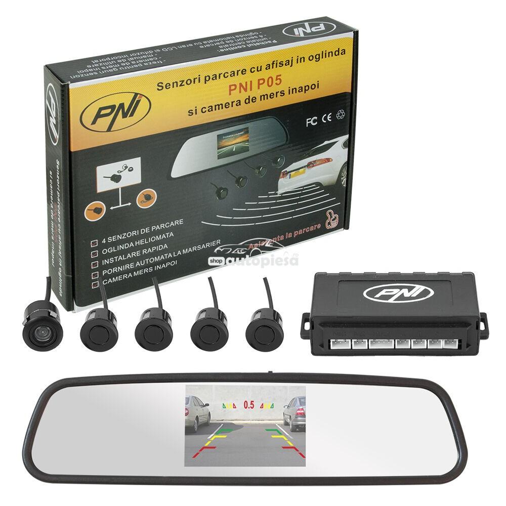 Senzori parcare auto cu afisaj in oglinda si camera marsarier PNI