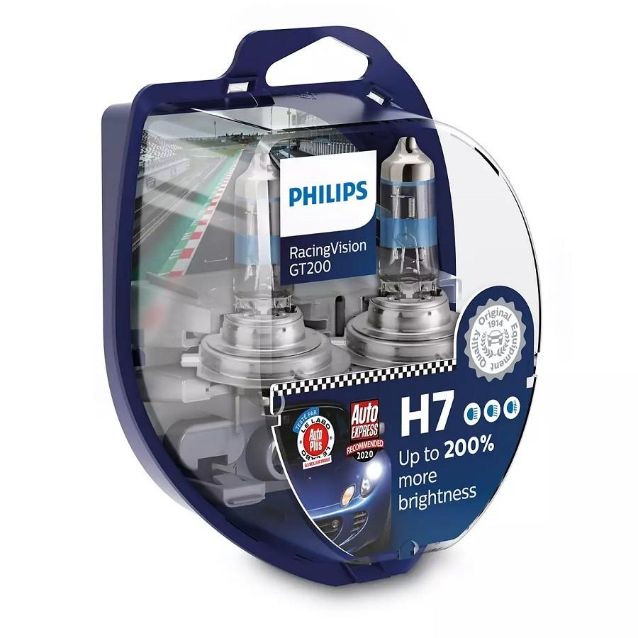 Set 2 becuri Philips H7 RacingVision GT200 (+200% lumina) 12V 55W