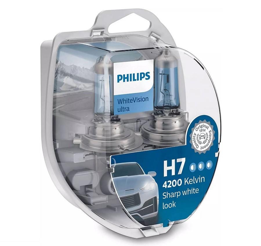 Set 2 becuri Philips H7 WhiteVision Ultra 4200K 12V 55W + BONUS 2 becuri W5W WhiteVision