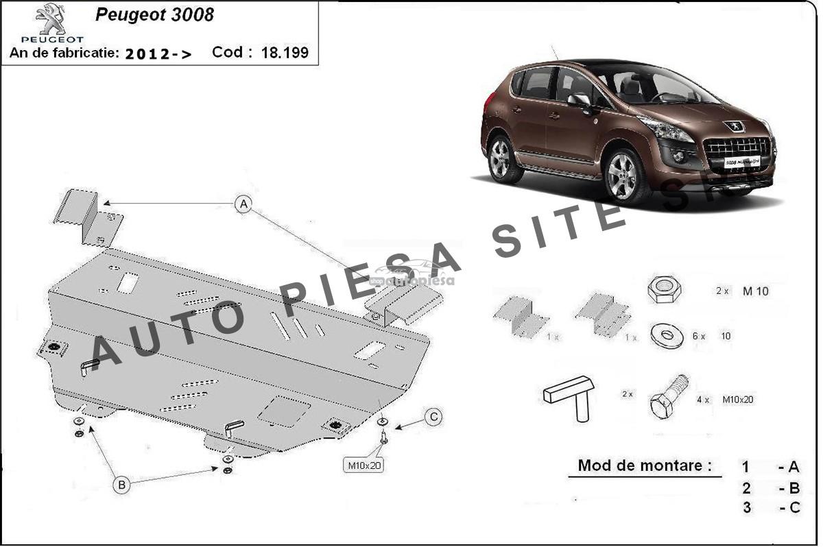Scut metalic motor Peugeot 3008 fabricat incepand cu 2012