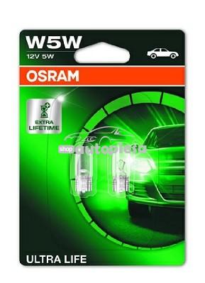 Set 2 becuri Osram W5W Ultra Life 12V 5W