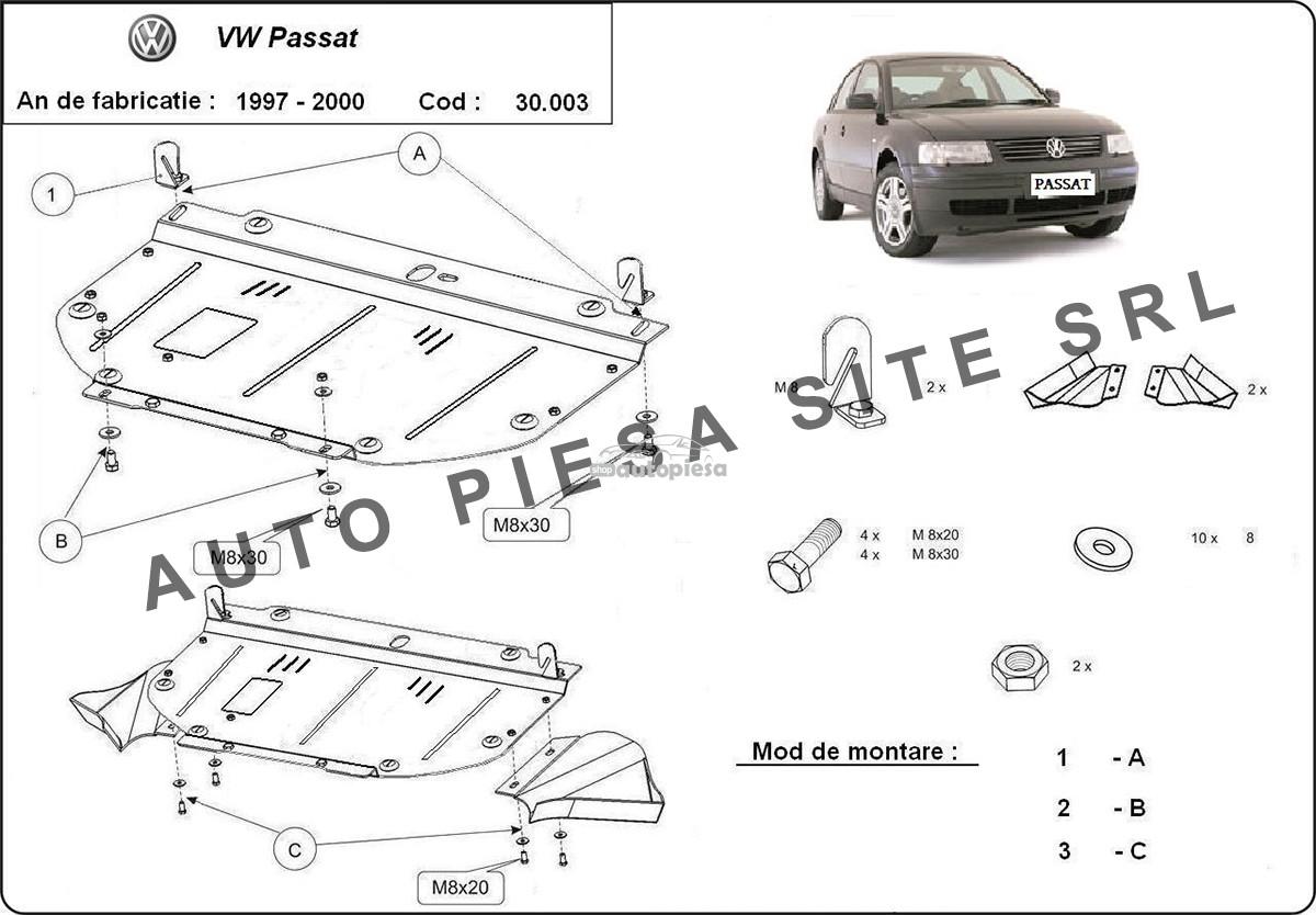 Scut metalic motor VW Passat (3B2, 3B5) 1.6 / 1.8 / 1.9 TDI fabricat in perioada 1997 - 2000