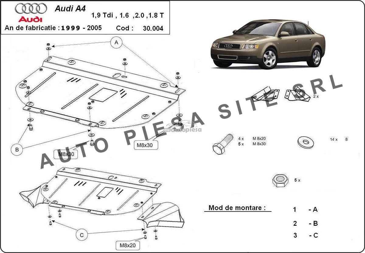 Scut metalic motor Audi A4 B6 (4 cilindrii) fabricat in perioada 2001 - 2005