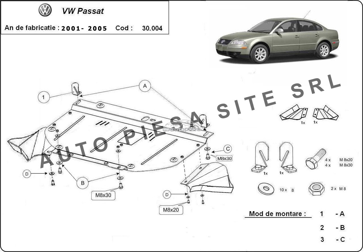 Scut metalic motor VW Passat (3B3, 3B6) (4 cilindrii) fabricat in perioada 2001 - 2005