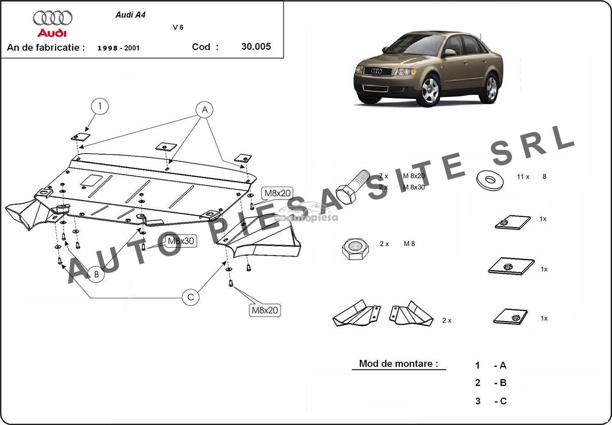Scut metalic motor Audi A4 B5 (6 cilindrii) fabricat in perioada 1995 - 2001