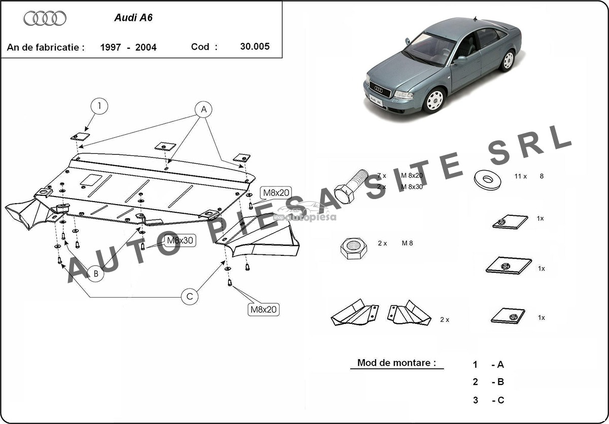 Scut metalic motor Audi A6 C5 (4 cilindrii) fabricat in perioada 1997 - 2004