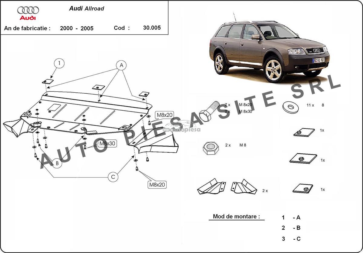 Scut metalic motor Audi Allroad fabricat in perioada 1999 - 2005