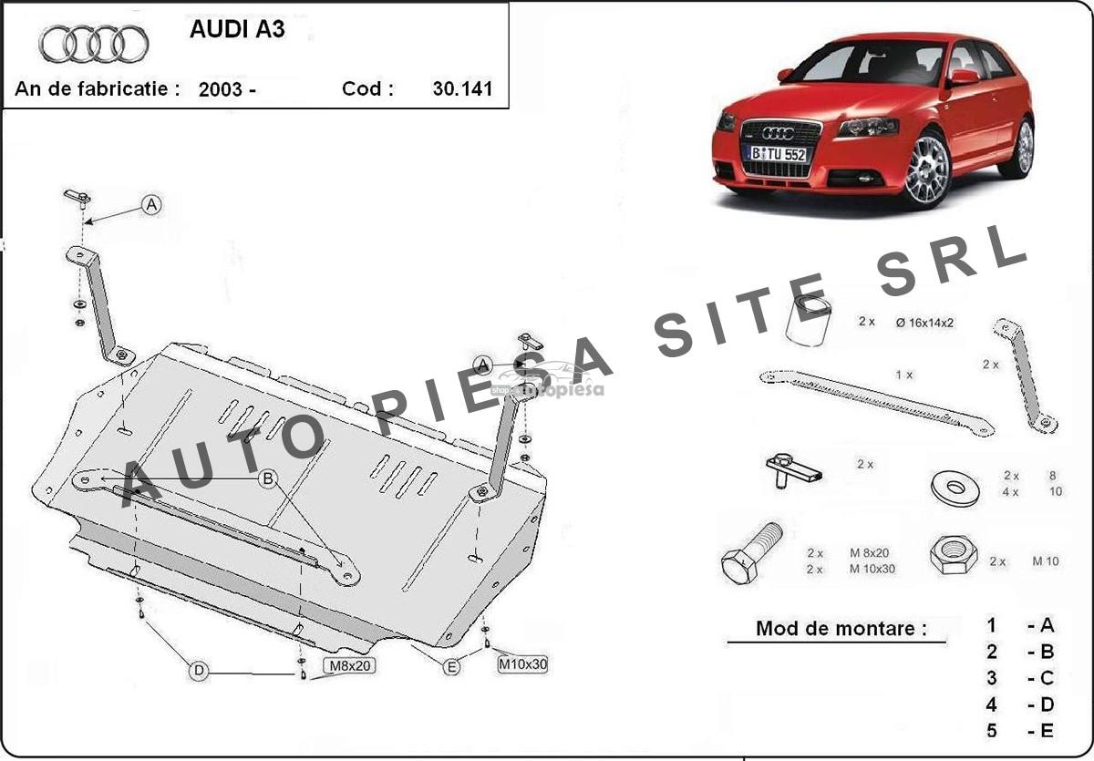 Scut metalic motor Audi A3 8P1 fabricat in perioada 2003 - 2008 (cutie manuala)