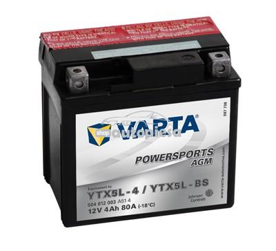 Acumulator baterie motociclete VARTA Powersports AGM 4 Ah 80A cu borne inverse