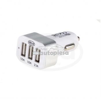Incarcator auto cu 3 iesiri USB fast charge (1 x 2.1A, 2 x 1A) ALCA